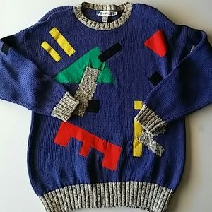 Vintage Knit Sweater Color Block